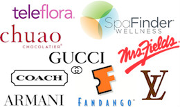 Teleflora, Mrs. Fields, Chuao Chocolatier, SpaFinder, Fandango, Louis Vuitton, Coach, Gucci
