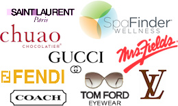 Saint Laurent, Mrs. Fields, Chuao Chocolatier, SpaFinder, Fendi, Tom Ford Eyewear, Louis Vuitton, Coach, Gucci